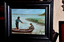 Vintage Oil Painting    2 Boys fishing in Boat
