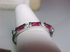 925 STERLING SILVER BAGUETTE SIMULATED RUBY CZ BAND RING SIZE 9