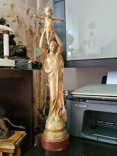 Schöne Bronze Skulptur Maria mit Jesuskind von Albert ROZE Gießerei Barbedienne
