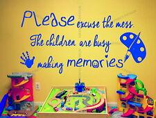 CHILDREN MAKING MEMORIES FUNNY QUOTE  BOYS/GIRLS Decorative Vinyl Wall Sticker