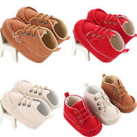 Baby Boy Girl Prewalker Crib Shoes Soft Sole Lace Sneaker Cotton Boots 0-18M