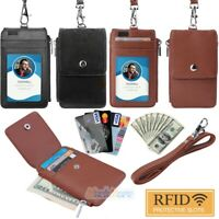New PU Leather Neck Strap ID Badge Credit Card Holder Pouch Wallet 5 Card Slots