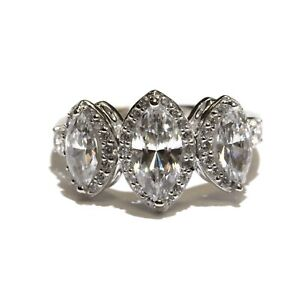 New Victoria Wieck 925 Sterling Silver zirconia band ring 4.2g unique size 8.25