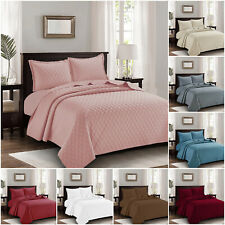 3 Piece Embossed Bedspread Quilted Bed Throw Bedding Set Single Double King Size
