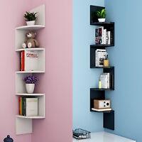 5 Tiers Corner Shelf Floating Wall Shelves Storage Display Books Home Decoration