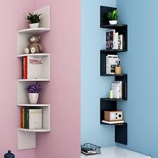 5 Tier Floating Wall Shelves Corner Shelf Storage Display Bookcase Bedroom UK