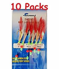 10 Packs Size 2 Sabiki Bait Rigs 6 Hooks Red Feather Saltwater Fishing Lures