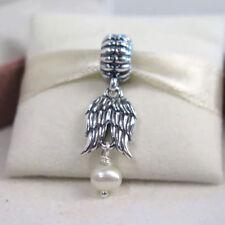Genuine Pandora ANGEL WINGS PENDANT Pearl Silver Charm Dangle