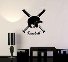 Vinyl Decal Baseball Helmet Bat Sports Fan Wall Stickers Mural (ig3428)