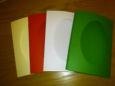 "4 Assorted 8x6"" Card Blanks & Envelopes, Oval Aperture Cream/Red/White/Green"
