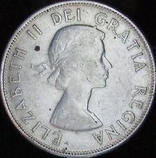 1958 AU+ Canada Silver 50 Cents (Fifty, Half) - KM# 53 - Free Shipping - JG