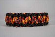 550 Paracord Survival Bracelet Cobra Black/Fireball Camping Military Tactical