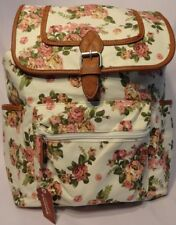 Rose & Cream Floral Extra Large Backpack Woven Fabric Fits Carry On Limits