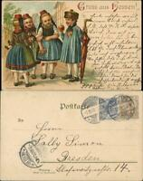 Litho AK Kinder Trachten  Litho-AK Gruss  Hessen 1901 Stempel FRIEDBERG HESSEN