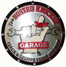Busted Knuckle Garage Round Metal Sign 300mm x 300mm   (sf)