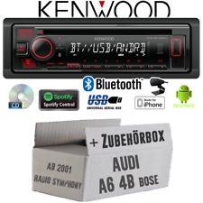 Kenwood Autoradio für Audi A6 4b ab 2001 Bose 1-DIN Bluetooth Spotify CD/MP3/USB