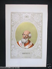1879 PAPA SERGIO II SERGIUS II ANTICA STAMPA CROMOLITOGRAFIA PAPI POPE D248 m