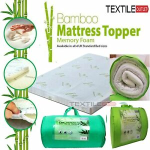 THICK QUALITY BAMBOO MEMORY FOAM MATTRESS TOPPER SOFT COZY COMFORTABLE ALL SIZES