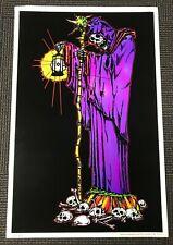 Vintage NOS Blacklight Poster 3259 The Reaper Dark Demonic Wicked Skulls Bones