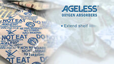 100 x Ageless Oxygen Absorbers 300cc Tyvek Outer O2 Food Storage Factory Sealed