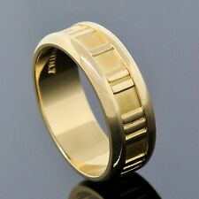 Tiffany & Co. Jewelry 18K Yellow Gold Atlas Roman Numeral 7mm Band Ring Size 7.5