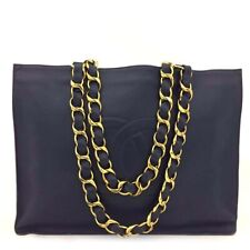 CHANEL CC Logo Lambskin Chain Large Shoulder Tote Bag Navy Blue/41009