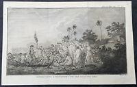 1778 Capt Cook Antique Print View of Eua Island, Tonga - Cook Landing in 1773
