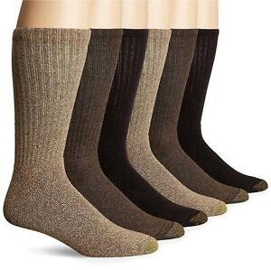 Gold Toe Men's Harrington Crew 6 Pack, Taupe Khaki Marl/Brown,, Brown, Size 6.0