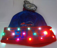 Buffalo Bills NAME NFL LED Light Up Hat Winter Pom Beanie Stocking Knit Cap