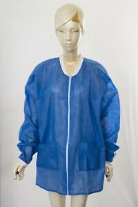 Medical Dental Disposable Lab Coat Gown Blue, With Pockets, 10PCS/50.00