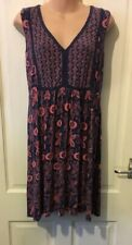 White Stuff Navy Dress With Burnt Orange Floral Style Pattern Size 12