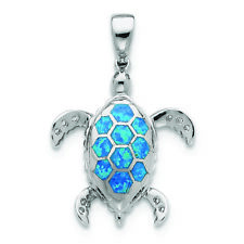 .925 Sterling Silver Created Blue Opal Inlay & Cz Tortoise Pendant Msrp $94