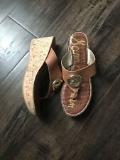 Sam Edelman Romy Womens 8.5M Brown Leather Cork Wedge Thong Sandals Flip Flops