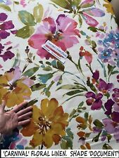 100% LINEN 'CARNIVAL' FLORAL FABRIC PINK PURPLE OCHRE CURTAINS/SOFT FURNISHINGS