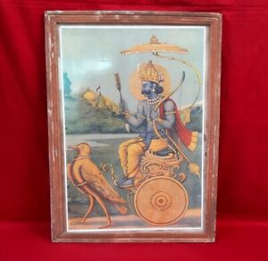 Antique Hindu God Arjuna Bird Mahabharat Signed Painting Vintage Rare Print Art