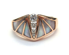 14K Rose Gold KABANA Pink Mother Of pearl  Cocktail Ring With Diamonds,  Sz 8