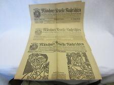3 Alte Zeitungen - Münchner Neueste Nachrichten - 8./9.April 1919 - Nr.160-162