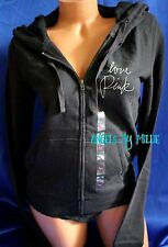Victorias Secret PINK Hoodie XS Black White Script Zip Campus Love Lightweight