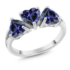 1.74 Ct Heart Shape Blue Iolite 925 Sterling Silver 3-Stone Ring
