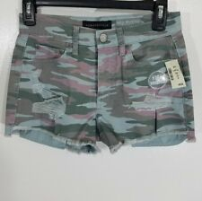 Aeropostale High Waisted Camo Denim Shorty Shorts |SIZE 2|BRAND NEW|USA SELLER