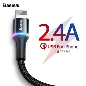 Baseus Halo for iPhone USB Braided Cable 2.4A Charging Data Sync. 0.25m - 3m