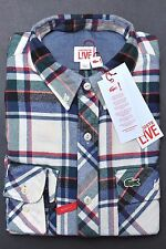 NWT Lacoste LIVE $145 Mens Skinny Fit Plaids Flannel Heavy Cotton Shirt S Eur 38