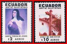 ECUADOR 1971 RELIGIOUS ART w/MISSING COLORS SC#C475v, 480v MNH JUDAICA %SCARCE%
