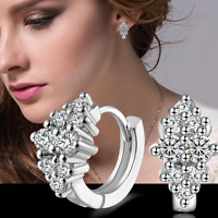 Fashion Jewelry Gift 925 Silver Plated Elegant Women Crystal Ear Hoop Earrings