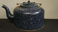 Vintage Blue Speckled Enamelware Porcelain Coffee Pot Tea Kettle Wood Handle 9""