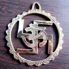 OM AUM SWASTIKA SWASTIK  -Brass Metal Hindu Religious 15 CM Wall Hanging