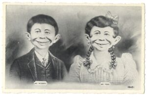 Pre MAD ALFRED E NEUMAN COUPLE - Me Worry? Me Too! RARE 1930's Postcard