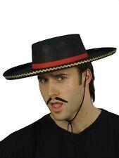 Black Red Spanish Hat Mens Matador Bull Figher Fancy Dress Hat