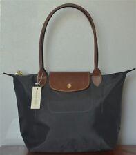 Auth Longchamp Graphite Le Pliage Nylon Large Tote Bag Leather Strap Handles