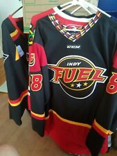 EUC red Indy Fuel Minor League Hockey Jersey CCM Large Klotz Numbered Sewn Great